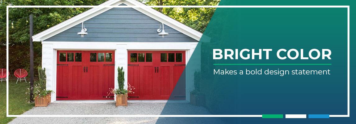 Bright color makes a bold design statement on garage doors