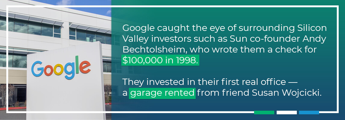 Google cause the eye of investors who wrote them a cheque in 1998, Their first real office - a garage rented from friend, Susan Wojcicki
