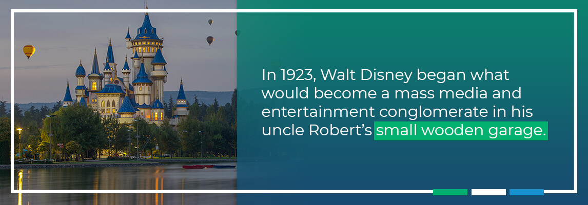 In 1923, Walt Disney began what would become a mass media and entertainment conglomerate in his uncle Robert's small wooden garage