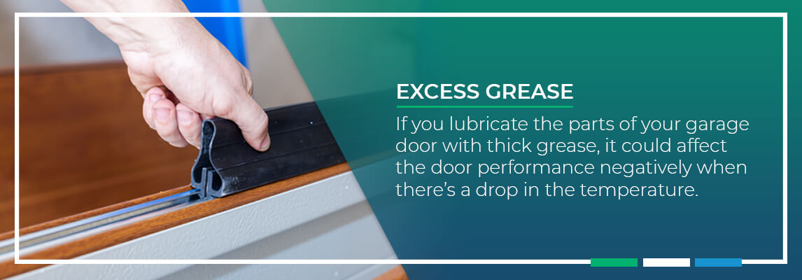 Excess Grease If you lubricate the parts of your garage door with thick grease, it could affect the door performance negatively when there's a drop in the temperature.