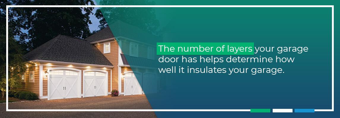 The number of layers your garage door has helps determine how well it insulates your garage.