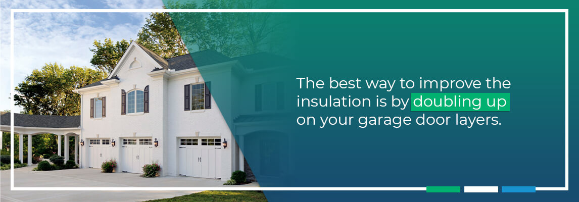 The best way to improve the insulation is by doubling up on your garage door layers