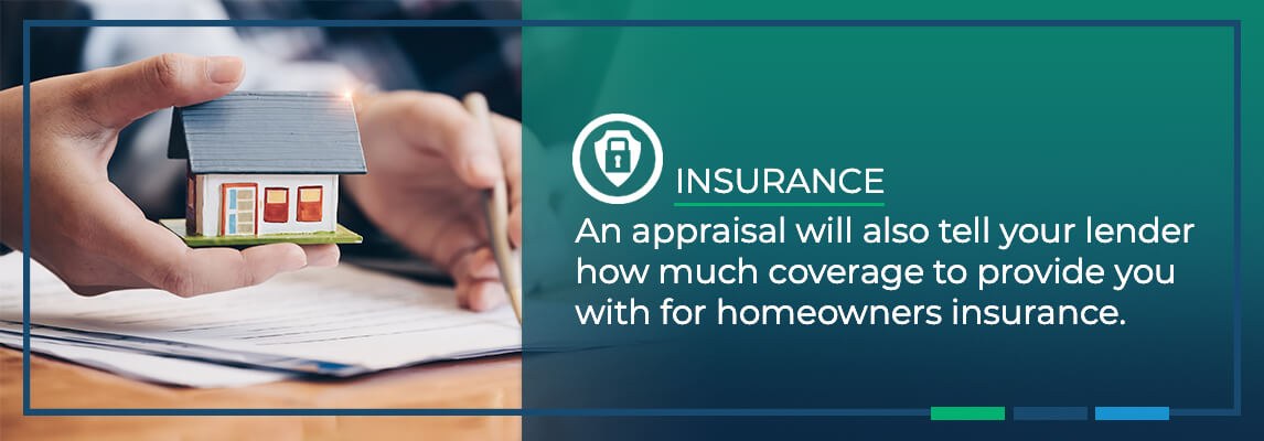 An appraisal will also tell your lender how much coverage to provide you with for homeowners insurance.