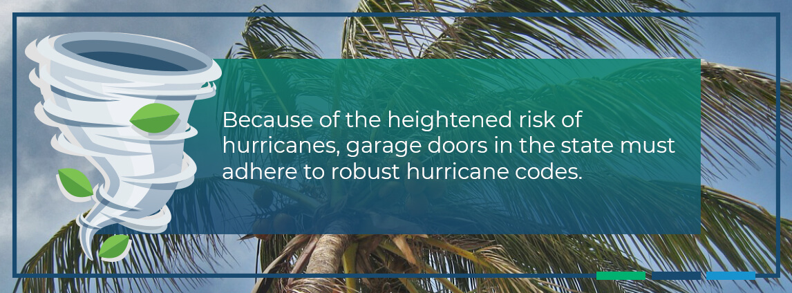 because of the heightened risk of hurricanes, garage doors in the state must adhere to robust hurricane codes
