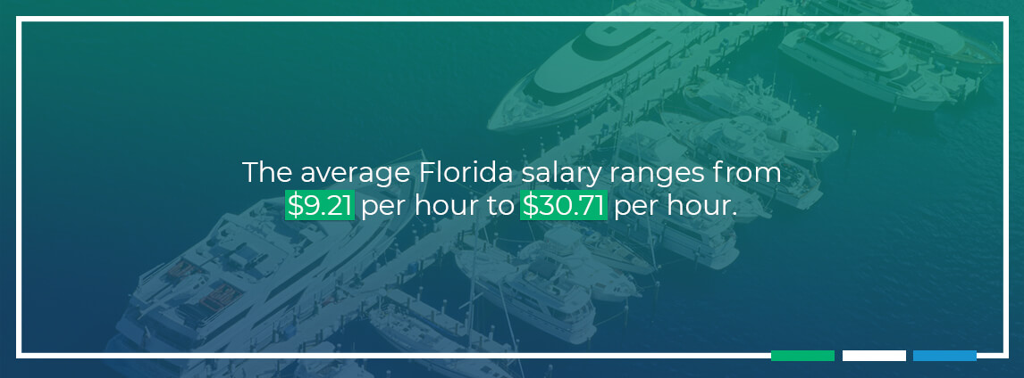 the average Florida salary ranges from $9.21 per hour to $30.71 per hour