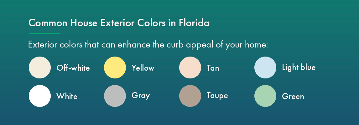 Common House Exterior Colors in Florida that can enhance the curb appeal of your home:ha
